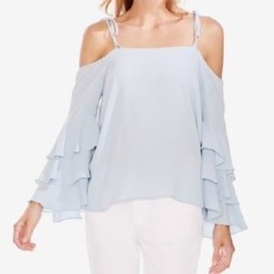 New Vince Camuto Tiered Ruffle Sleeve Blouse Top